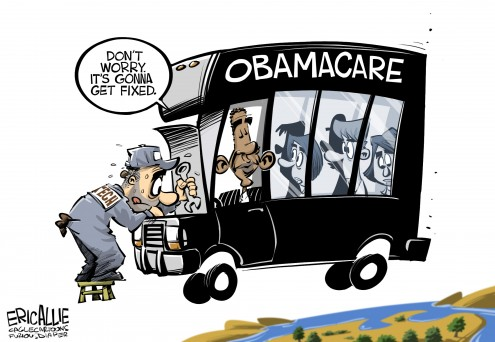 Obamacare political cartoon by Eric Allie